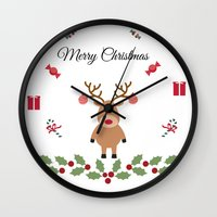 merry christmas Wall Clocks featuring Merry Christmas by haroulita
