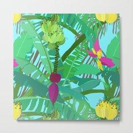 Banana Jungle in Blue Metal Print