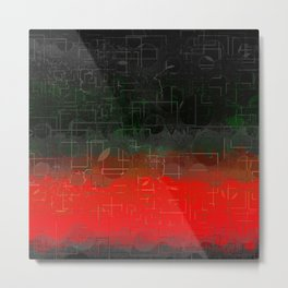 Dark Red Black Emerald  Multi-Pattern Overlay Design Metal Print