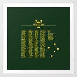 The Matildas 1979-2019 Green Art Print
