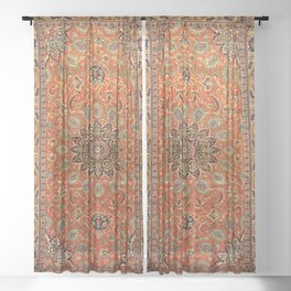 Central Persia Qum Old Century Authentic Colorful Orange Yellow Green Vintage Patterns Sheer Curtain