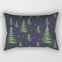 Christmas trees in starry sky Rectangular Pillow