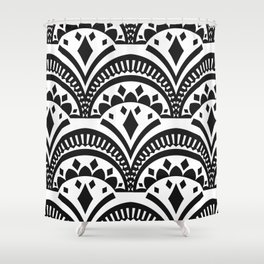 Black and White Deco Print Shower Curtain