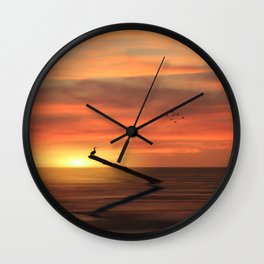 CORMORANT IN THE SUNSET Wall Clock