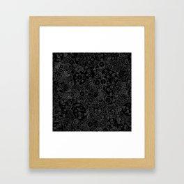 Clockwork B&W inverted / Cogs and clockwork parts lineart pattern Framed Art Print