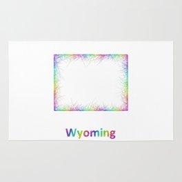 Rainbow Wyoming map Rug