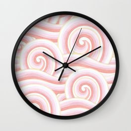 Pink Auspicious Waves Wall Clock