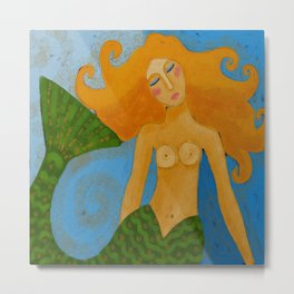 Mermaid in the Sea Abstract Digital Painting  Metal Print