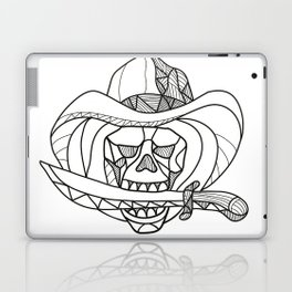 Cowboy Pirate Skull Biting Dagger Mosaic Laptop & iPad Skin