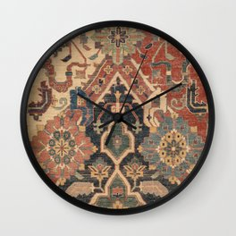 Geometric Leaves I // 18th Century Distressed Red Blue Green Colorful Ornate Accent Rug Pattern Wall Clock