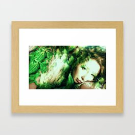 Fairy feather head dress fairy goddess green feathers ,WOOD NYMPH Framed Art Print