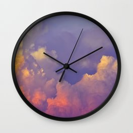 Purple Pastel Clouds Fluffy Cotton Candy Whimsical Fairytale Sky Wall Clock
