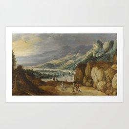 Joos de Momper ANTWERP 1564 - 1635 AN EXTENSIVE MOUNTAINOUS RIVER LANDSCAPE WITH HORSEMEN CONVERSING Art Print