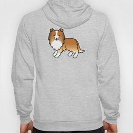 Sable Shetland Sheepdog Dog Cartoon Illustration Hoody