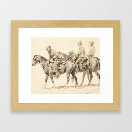 FREDERIC REMINGTON (1861-1909) On the Way to the Platte [or] Fitzpatrick and the Wagon Train (1890) Framed Art Print