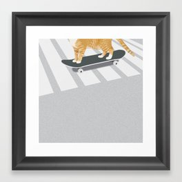 Skateboarding cat Framed Art Print