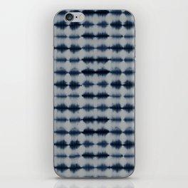 Shibori Frequency Horizontal Navy and Grey iPhone Skin
