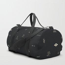 Southwestern Symbolic Pattern in Black & Cream Duffle Bag