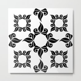 Decorative Black and White Pattern Metal Print
