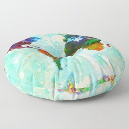 Abstract Map of the World Floor Pillow