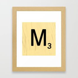 Scrabble M Decor, Scrabble Art, Large Scrabble Tile Initials Framed Art Print