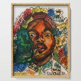 rapper,lyric,smoke,wall art,fan art,music,hiphop,rap,rapper,legend,shirt,print,chancee Serving Tray