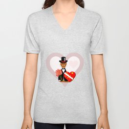 Oliver's Valentines Date With Heart Background Unisex V-Neck