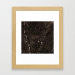 Brown Vein Marble Dark Brown Interior Coffee Home Decor Stone Minimal Design Framed Art Print