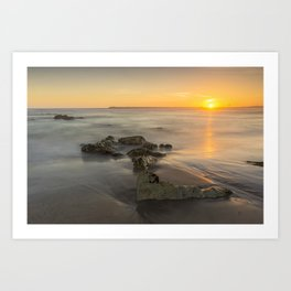 Orange sunset by the beach Art Print