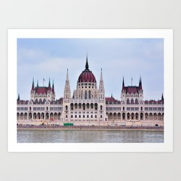 Panorama view of the famous Hungarian Parliament. Art Print