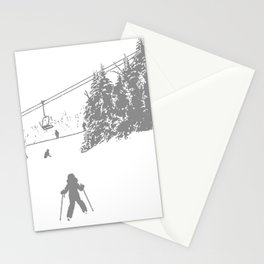Little Skier - Grey Stationery Cards