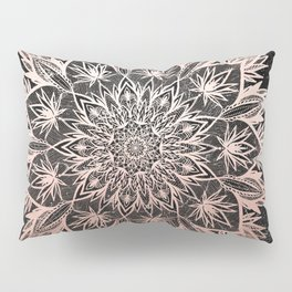 Rose Gold Black Marble Mandala Pillow Sham