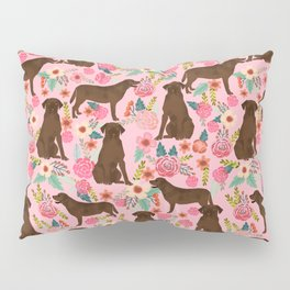 Chocolate Labrador Retriever dog floral gifts must haves chocolate lab lover Pillow Sham