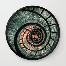 Pretty green spiral staircase Wall Clock