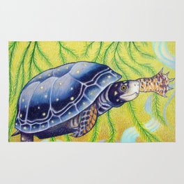 Swimming Spotted Turtle, Turtle Art Rug