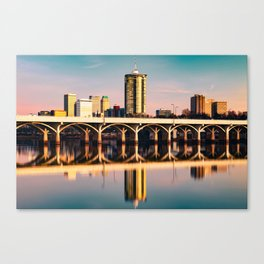 Tulsa Historic 21st Street Bridge and City Skyline Canvas Print