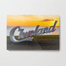 Cleveland Ohio City Script Sign Lake Erie Sunrise Photography Print Metal Print
