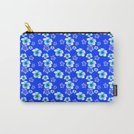 Blue Floral And Turtles Hawaiian Pattern Carry-All Pouch