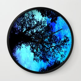 Black Trees Turquoise Space Wall Clock