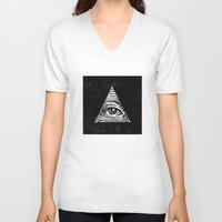 illuminati V-neck T-shirts featuring Illuminati by Jenny Joleen