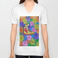 sneaker V-neck T-shirts featuring SNEAKER OF PEACE AND LOVE by Manuel Estrela 113 Art Miami