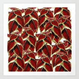 Red Leaves On White Pattern Art Print