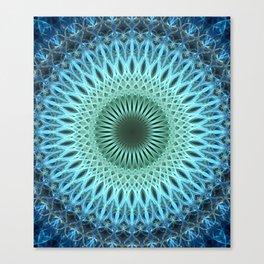 Light blue mandala with a bit of green Canvas Print