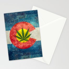 Retro Colorado State flag with leaf - Marijuana leaf that is! Stationery Cards
