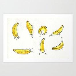 Bananas doing yoga Art Print