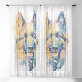 German Shepherd Dog Portrait Sheer Curtain