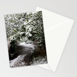 Snowy Path in The Trees Stationery Cards
