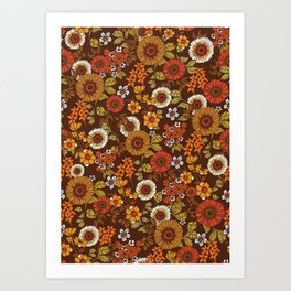 70s retro ditzy flowers, boho, browns, orange, hippie Art Print
