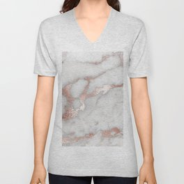 Rose Gold Marble Unisex V-Neck