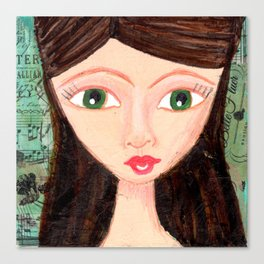 Green-eyed girl Canvas Print
